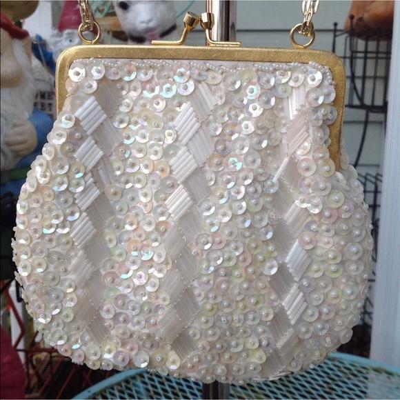 32ffc032714ce Vtg Sequin Bead Handbag Evening Bag Purse 50s 60s